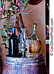 Italian winery with bottle and bottle of wine