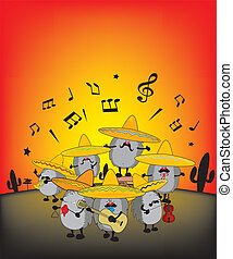 mariachi hedgehogs - funny mariachi hedgehogs illustration