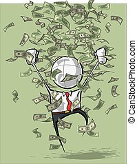 Simple Business People - Money Rain - Sparse vector...