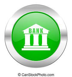 Nät, krom, isolerat, grön, cirkel,  bank, ikon