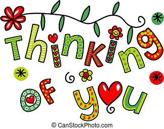 Thinking of You Doodle Text Express - Hand drawn colorful...