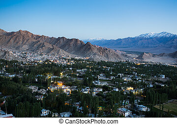 Leh city in twilight