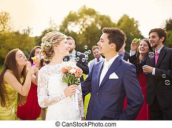 recién casados, boda, recepción