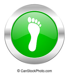 foot green circle chrome web icon isolated
