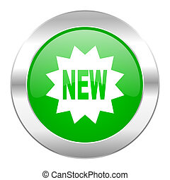 new green circle chrome web icon isolated