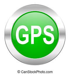 GPS, verde, círculo, cromo, tela, icono, aislado