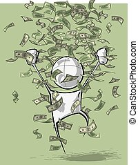 Simple People - Money Rain - Sparse vector illustration of a...