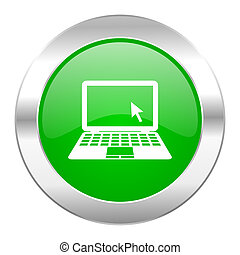 computer green circle chrome web icon isolated