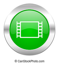 movie green circle chrome web icon isolated