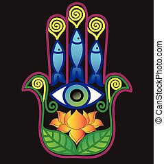 Hamsa Eye - Illustration with hamsa, lotus and paisley lace...