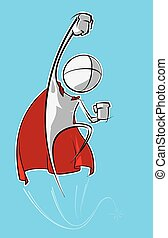 Simple People - Superhero - Sparse vector illustration of a...