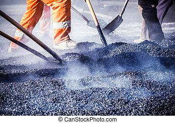 trabajadores, Elaboración, asfalto, palas, camino,...