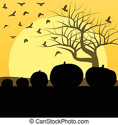 Halloween background vector concept with tree, raven and pumpkin