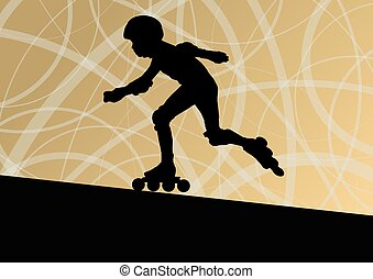 Roller skating vector background concept