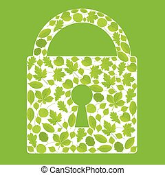 Padlock made with leaves vector ecology background concept