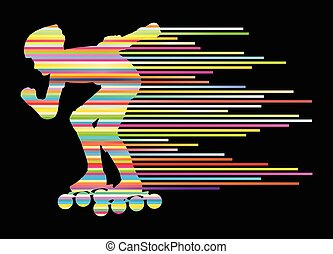 Roller skating silhouettes vector background winner concept...