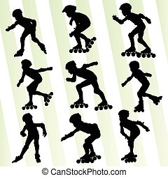 Kid roller skating vector background concept set
