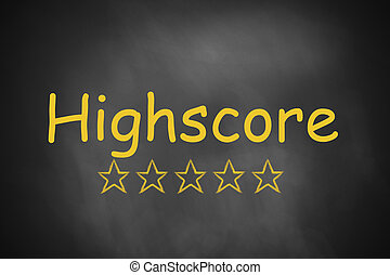 black chalkboard highscore golden stars - black chalkboard...