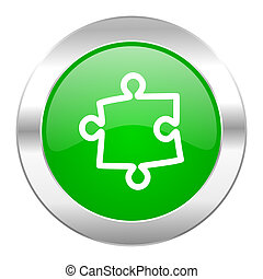 puzzle green circle chrome web icon isolated