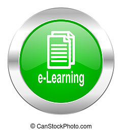learning green circle chrome web icon isolated