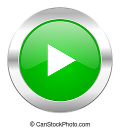 play green circle chrome web icon isolated