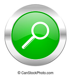 search green circle chrome web icon isolated