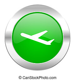 deparures green circle chrome web icon isolated