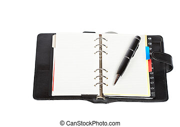 Opened agenda with pen and notes word written, over a white...