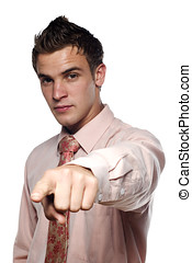 Young man in suit pointing