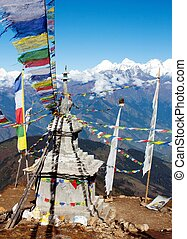 Ganesh Himal with stupa and prayer flags - view from...