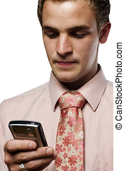 Young business man on cell phone