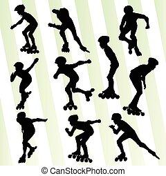 Kid roller skating vector background concept set