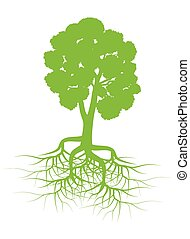 Green tree with roots background vector