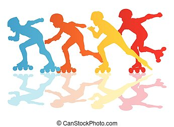 Roller skating silhouettes vector background concept with...