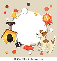 Background with cute sticker dog, icons and objects.