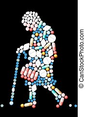 Pills Tablets Old Woman - Medicines that shape the...