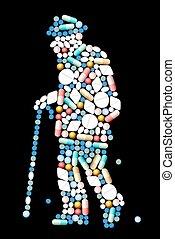 medicina, antigas, homem,