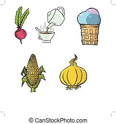 red beet,Tea Party,Ice cream,Ear of corn,Garlichand drawn...
