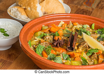 Moroccan dish with lamb and vegetables - Moroccan tagine...