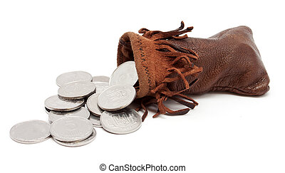 The coins falling out from the pouch - The coins falling out...