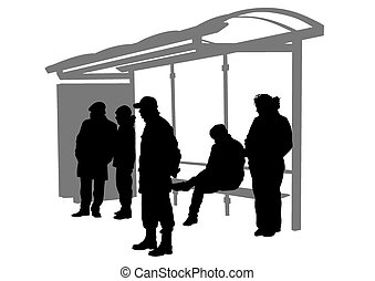 Bus stop - People at bus stop on white background