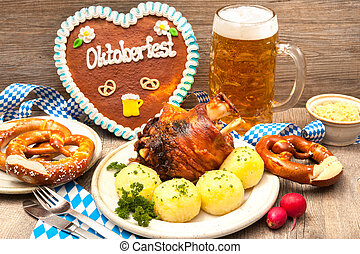 Oktoberfest - Appetizing Bavarian roast pork knuckle with...