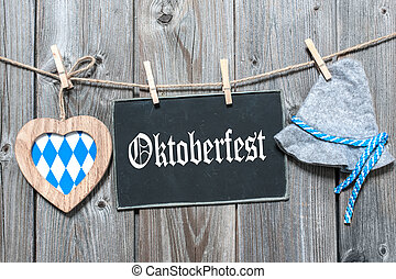 Background for Oktoberfest - Message, bavarian hat and heart...