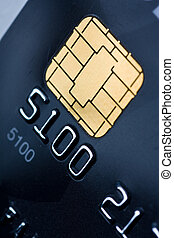 Credit card with gold chip - Closeup of a credit card with a...