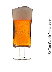 Glass of beer image on white background