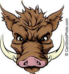Boar mascot - An illustration of a fierce boar animal...