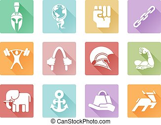 Strength icons flat shadow style - Conceptual strength icon...