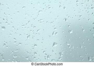 Rain drops on glass closeup - Many cold rain drops on window...