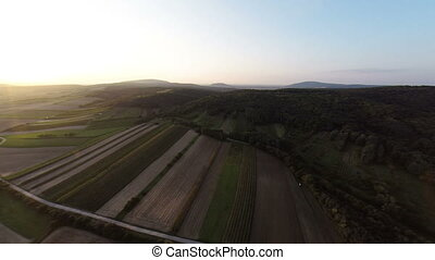 Aerial footage ovver field and meadows in sunset