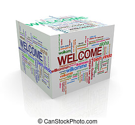 3d cube wordcloud of welcome